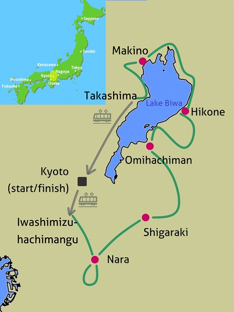 Nara Lake Biwa bike tour map