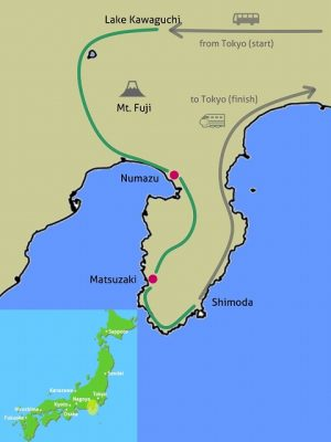 Mt Fuji foothills & Izu bike tour map
