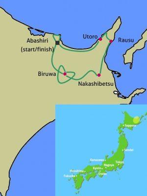 Hokkaido Shiretoko bike tour map